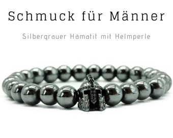 Silver grey beaded bracelet | Hematite | Helmet | Warriors | Men's Jewellery | Men's Bracelet | Gift for Husband | Bracelet for man