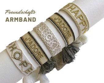JADORE HAPPY LUCKY   Friendship bracelet   knotted woven embroidered bracelet   Tassels   Web bracelet   Boho   beige gold Hope