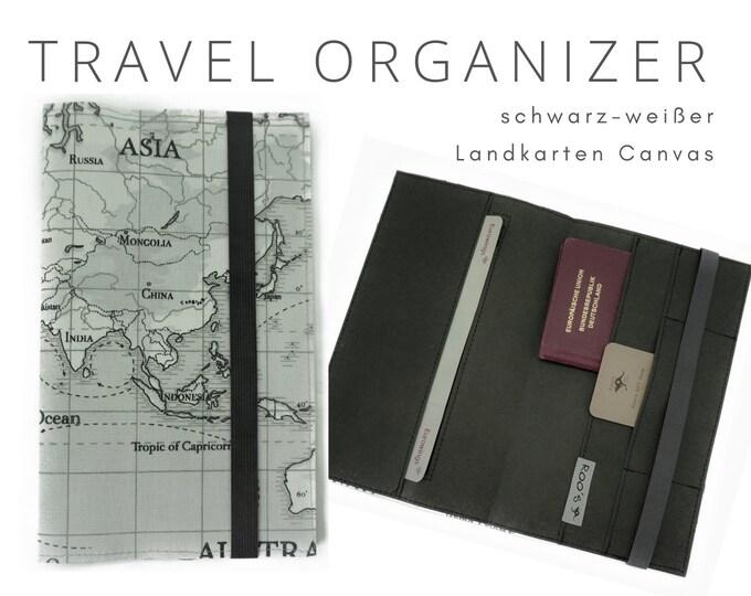 Black and White Travel Case | Travel Organizer Map | Document folder | Gift for Globetrotter | Passport Case | Washable Paper
