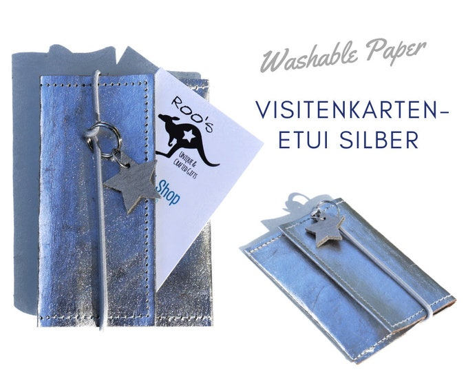 Business Cards Case | silver | Washable Paper | Pencil Case for Businness Cards | with ribbon and leather star pendant