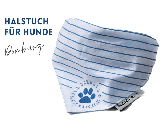 Dogs neck scarf   maritim   striped   Domburg   Cotton bandana   is attached to the collar