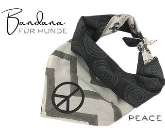 Dogs Neck scarf PEACE   Bandana   Turn Triangular Cloth   for binding   black white     on both sides Peace Symbol   Hippie Boho   Gr. L