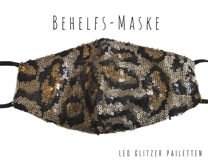 Featured listing image: Leo Glitter Mask | Mouth Nose Mask in Sequin Fabric | Fabric Mask | Mouth covering | Face Mask | Glitter Mask | Leo Pattern | Leopard