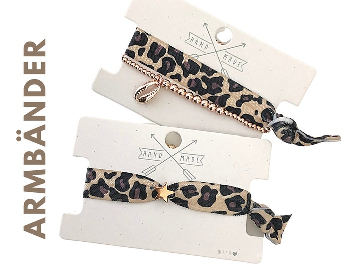 Elastic and woven bracelets | rose gold heart | Leo | Boho | Hippie | Pendant | Jewellery Card | Leopard Pattern | Animal print | Shell