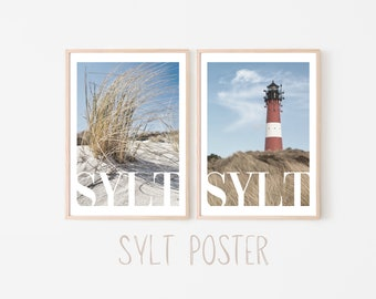 SYLT Poster   Beach   Summer   Wave   Sea   Dune   Stand   Lighthouse   maritim   Pictures   Wall Decoration   Beach