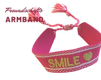 Pink Friendship Bracelet | Web Bracelet | SMILE | knotted woven embroidered bracelet | Ibiza Tassels | Boho | Hippie | pink pink