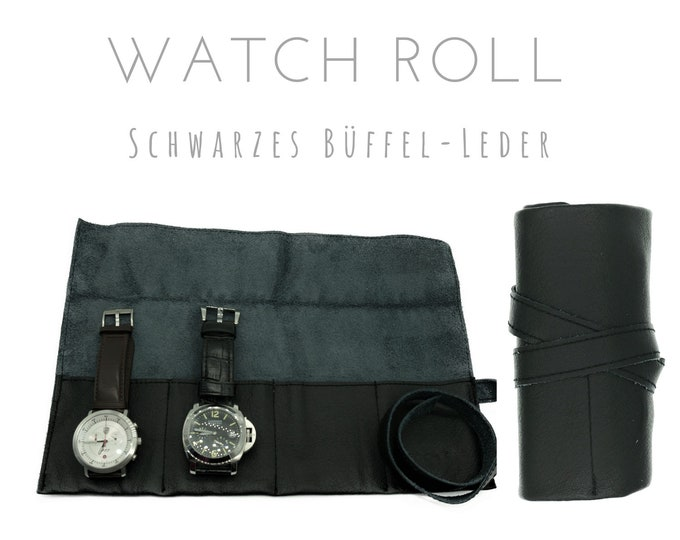 Black 4-Series Watch Roll in Buffalo Leather | Gift for Men | Wristwatches Roll 4 Watches | Travel Watches Case | Watch Roll Leather