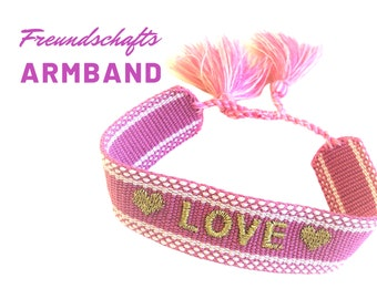 LOVE webbing in pink with gold | Love Valentine's Day | Boho | Hippie | Bracelet woven | Statement Band | Tassels | Friendship Ribbon Gift