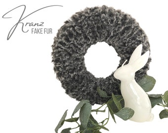 Grey wreath | knitted | Faux fur wool | Easter decoration | Spring | Wreath | 28 cm diameter | Boho Style | Skandi Style Hygge