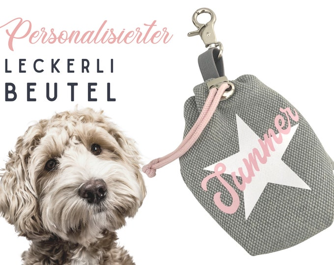 Personalized Leckerli Pouch   Feeding bag   for dogs   Gift Dog   with carabiner   washable   Pet gift