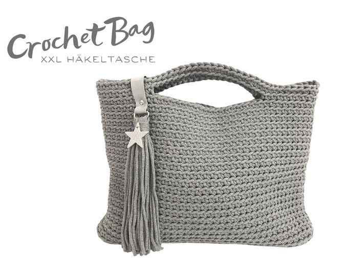 Grey crochet bag XXL | roughly crocheted pouch | Bag made of crocheted rope | silver | recycled cotton