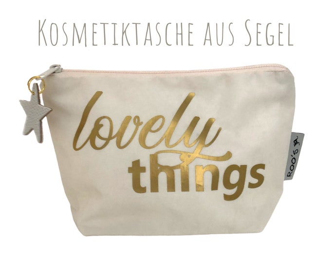 "White cosmetic bag made of sail ""Lovely things"" 