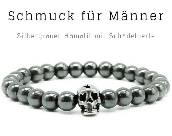 Silver grey beaded bracelet | Hematite | Skull | Skull Skull | Men's Jewellery | Men's Bracelet | Gift for Husband | Bracelet for man