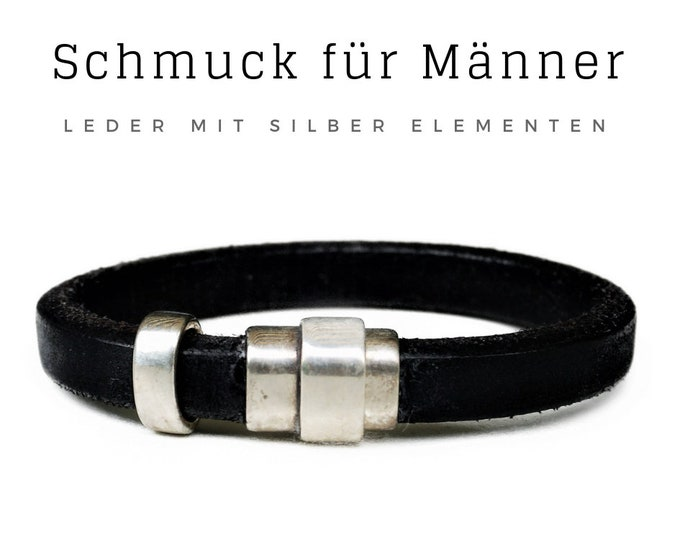 Father's Day! Bracelet for Men | Black leather strap | silver-plated elements | Magnetic closure | Strikmarks | Male jewellery | Men's bracelet
