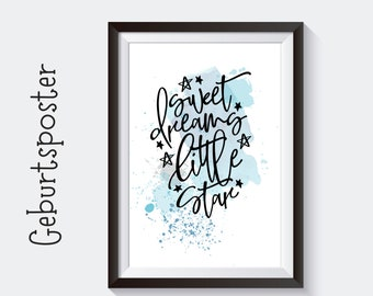 Birth Poster | Baptism Gift | Customized Print | Letter | Watercolor | Cool picture for baby nursery | Birth Baby Shower