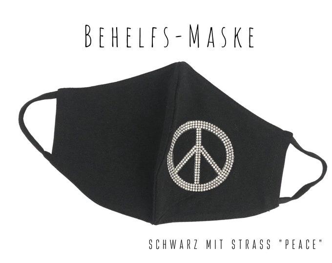 Black Makeshift Mask | Rhinestone Peace | Glitter Mask | Face Mask | Cotton Mask | stylish mask | Peace Sign | Rhinestone emblem