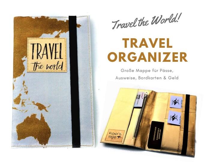 Travel Organizer | Golden World Map | Travel Documents Case | Document Folder | Traveller | Travel Envelope | Passport Cover | Map | Travel case