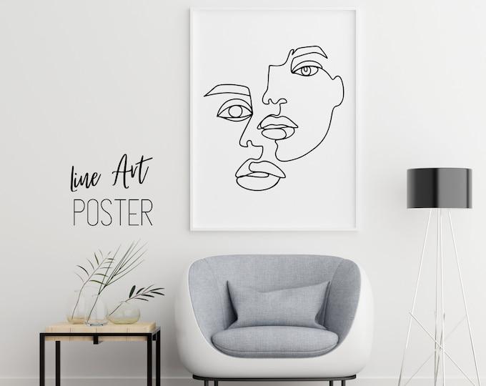 Face | One Line Art Poster | Lines Drawing | Line drawing | minimalist art | Boho Deco | Digital Print | Monoline | Faces