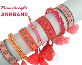 NEON LOVE Friendship Bracelet   pink orange gold   Canvas Webband   Ribbon   knotted woven bracelet   Tassels   Web bracelet   Boho