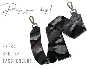 Extra wide strap for handbag | Camouflage | Glitter | black grey silver | Crossbody Bag | XXL Strap 5 cm | adjustable | pimp you bag