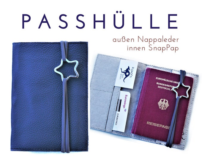 Passport Case | Travel Organizer | Leather Blue-Grey | Passport, identity card, driver's license, credit cards business Card | Nappa Leather & SNAPPAP