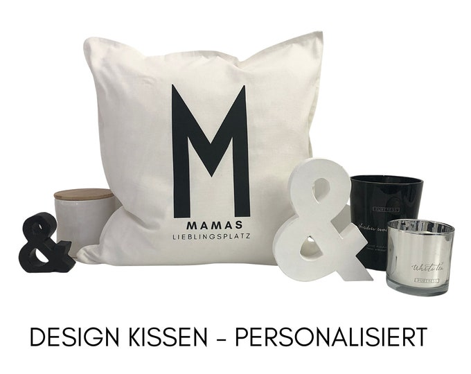 Design Pillow Mother's Day | black white | personalizable | Name | Cushion cover with letter | Cotton | Skandi Design | Scandi Decoration