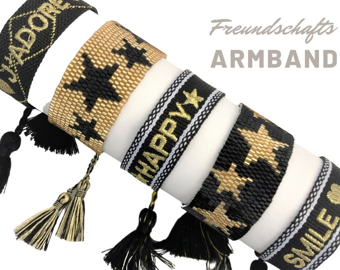 Friendship Bracelet | Webband | black gold knotted woven bracelet | Ibiza Tassels | Boho | Hippie Star Beaded Bracelet | Statement