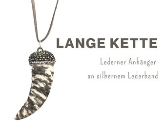 Long chain with leather pendant | Tooth | Snake leather | silver leather strap | Chain pendant with glitter in beige and grey | Mother's Day