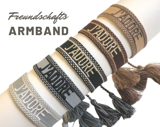 Featured listing image: J'ADORE Friendship Bracelet | Web Bracelet | knotted woven embroidered bracelet | Ibiza Tassels | Boho | Hippie | grey black brown