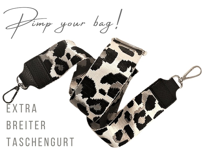Extra Wide Leo Strap for Handbag | Leopard | 5 cm wide | Crossbody Bag | XXL Belt | adjustable | Replacement belt | black and white | Animal