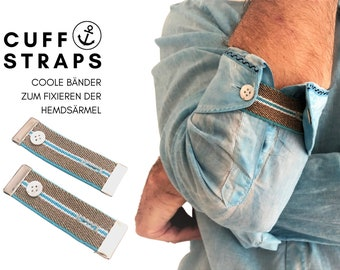 Cuff Straps | grey turquoise sleeve holder | fixed carded shirt sleeves | Men's Gift Valentine's Day | with gift packaging | Bracelet