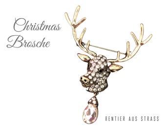 Christmas brooch in rhinestones | Reindeer | Deer | Rudolf | Glitter brooch for Christmas | Advent Calendar | Decoration for Wreath | Pin