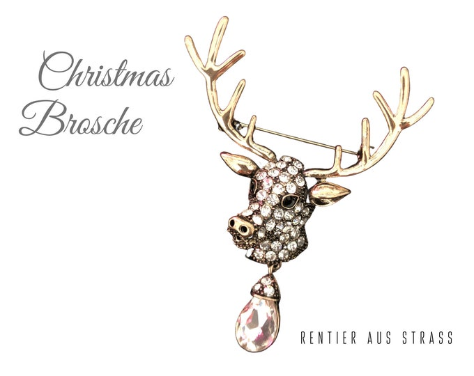 Featured listing image: Christmas brooch in rhinestones | Reindeer | Deer | Rudolf | Glitter brooch for Christmas | Advent Calendar | Decoration for Wreath | Pin