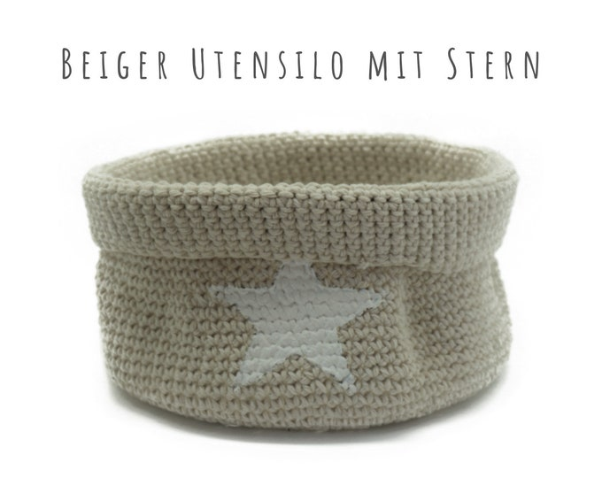 Beiges Utensilo Baskets   Gift of Souvenirs   Baskets for Jewelry   Bowl crocheted with Star