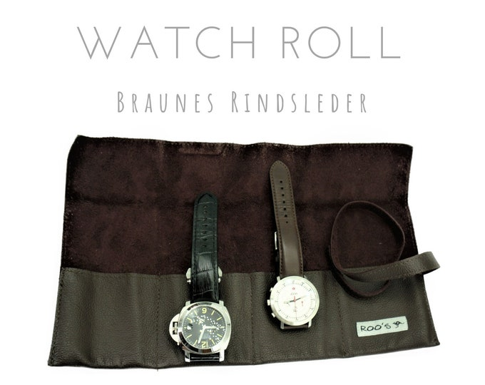 Brown 4-man cowhide watch roll | Gift for Men | Watches Roll 4 Watches | Travel Watches Case | Watch roll leather