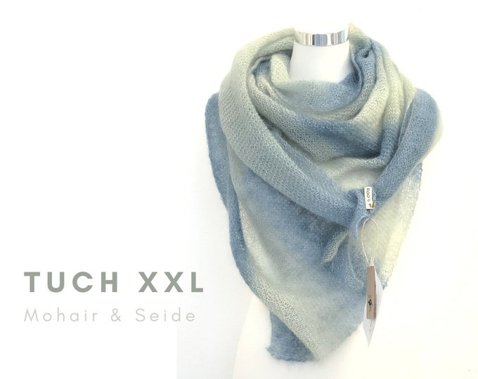 Noble Knitcloth XXL | Mohair wool with silk | blue green gradient | Feather-light triangular cloth | Scarf | Stole | Lace Cloth | Knitted scarf