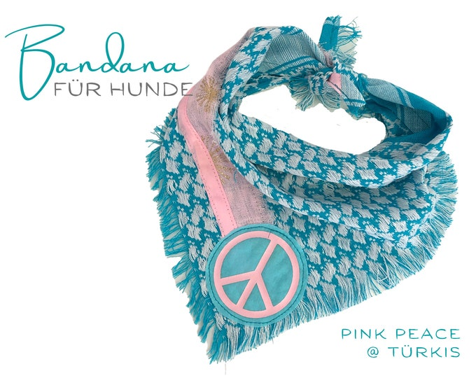 Turquoise dogs scarf   Bandana with peace sign in pink   Triangular cloth for binding   Cloth collar   Gr.M/L