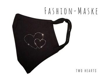 Black mask with rhinestone heart | Glitter Mask | Fabric Mask | Mouth cover face mask glitter mask | Heart Heart Rhinestone Heart