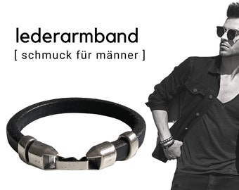 Black leather bracelet for men | silver-plated elements | Magnetic closure | Men's bracelet | Gift Valentine's Day