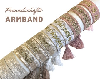 J'ADORE | LOVE | Friendship Bracelet | Web Bracelet | knotted woven bracelet | Tassels | Boho | Hippie | white beige pink gold