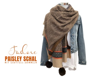 Brown Paisley Scarf | J'adore | | with brown real fur pompms Viscose wool | discreetly patterned | Cloth