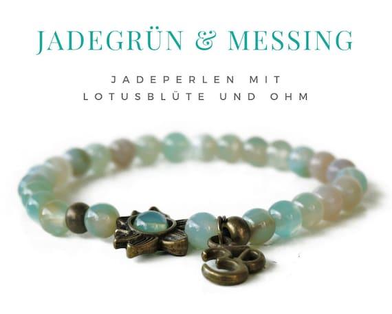 Green jade bracelet with Lotus and Ohm | Jade | Brass Pearls | Elastic pearl bracelet | Beaded Jewelry Yoga Lotus Blossom Ohmsign