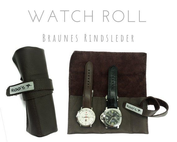 Brown 2er Watch Roll | Beef leather | Gift Men | Watch bag | Travel Wristwatches Case | Watch roll | Leather Roll | Bag