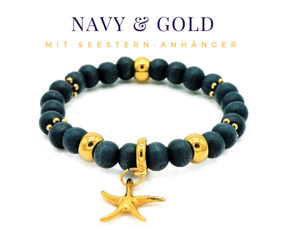 Elastic Bracelet | Blue & Gold | Wood and Metal Beads | Starfish Pendant | Pearl Bracelet | Elastic Bracelet | Navy