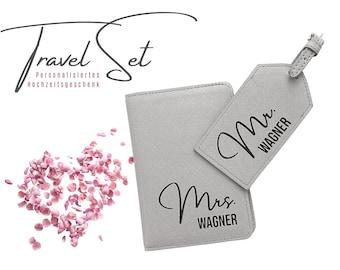 Travel Set Honeymoon | Gift Bridal Couple | Imitation leather| Passport cover | Luggage tag | two-part | Wedding gift | Mr. & Mrs.