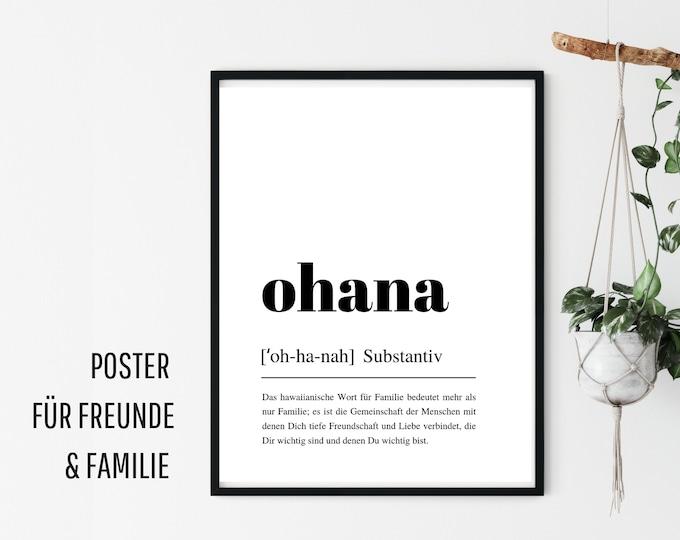Design Poster |  OHANA | German Definition Dictionary | Digital Print | Typo Image | Art print | Duden Phonetic | Family Friends