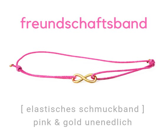 Elastic Friendship Band | Jewelry Band | Pink & Gold | Infinity | Rubber | Sliding knots | Wish Band | Heart