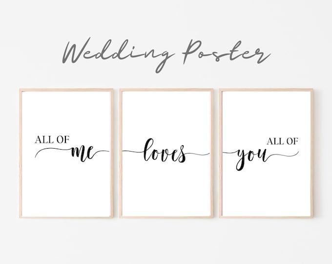 Wedding Poster Set of 3 | Wedding | Gift newlyweds Valentine's Day | Writing | Love | Love | Pressure | Print romantic declaration of love
