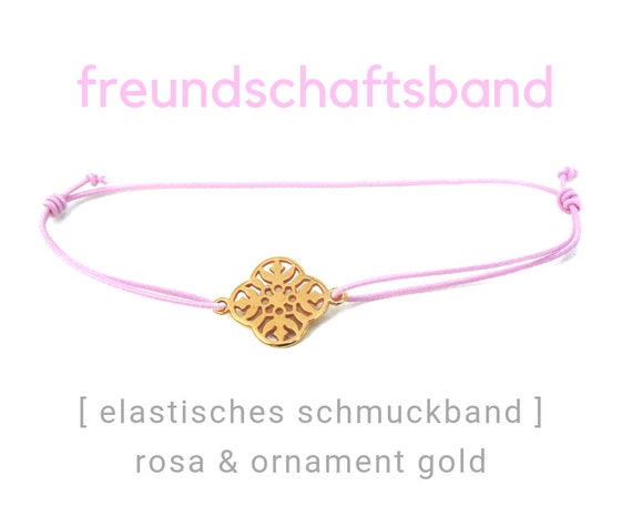 Elastic Friendship Band | Jewelry Band | Pink & Gold | Ornamental Decoration | Rubber | Sliding knots | Wish Band | Heart