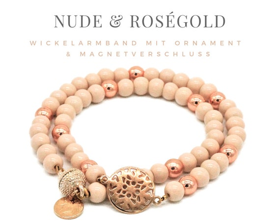 Wrap Bracelet | Nude & Rose Gold | Glass and Metal Beads | Ornamental Decoration | Magnetic Closure | Bracelet Double Row | Kl. Necklace